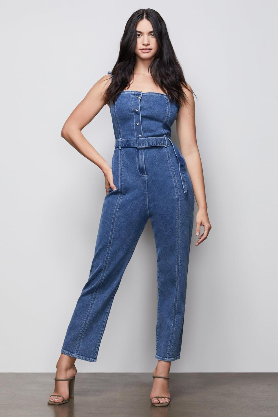 <p>Black-owned brand, Good American makes the coziest denim items and this <span>Belted Corset Jumpsuit</span> ($119) is no exception. As much as I love overalls and jumpsuits, they often tend to creep or snug too tight in certain areas, this jumpsuit does the exact opposite. It stays in place and has great stretch to it. </p>