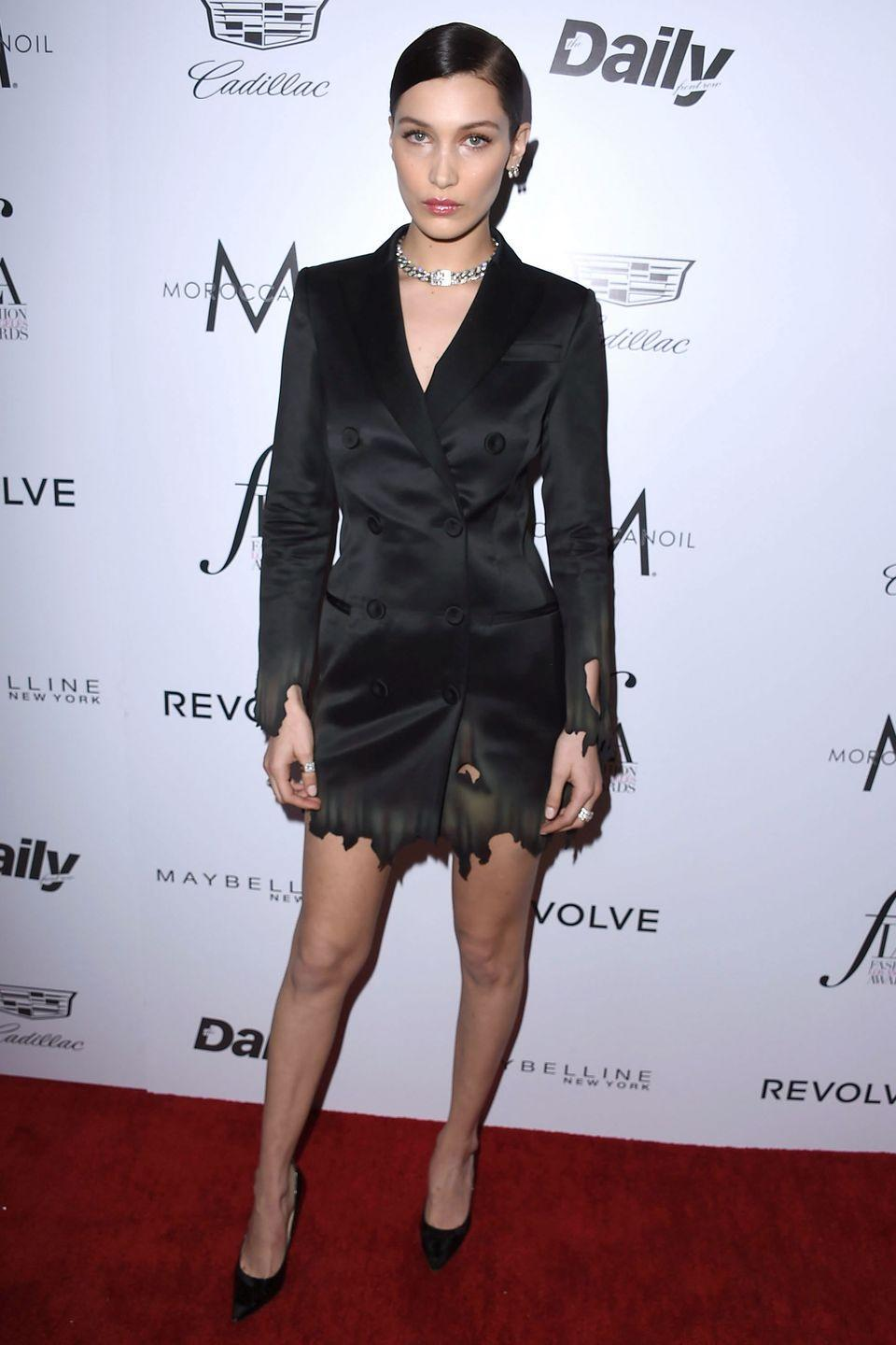 <p>In Moschino by Jeremy Scott silk blazer and black heels at the The Daily Front Row 'Fashion Los Angeles Awards' 2016 in West Hollywood.</p>