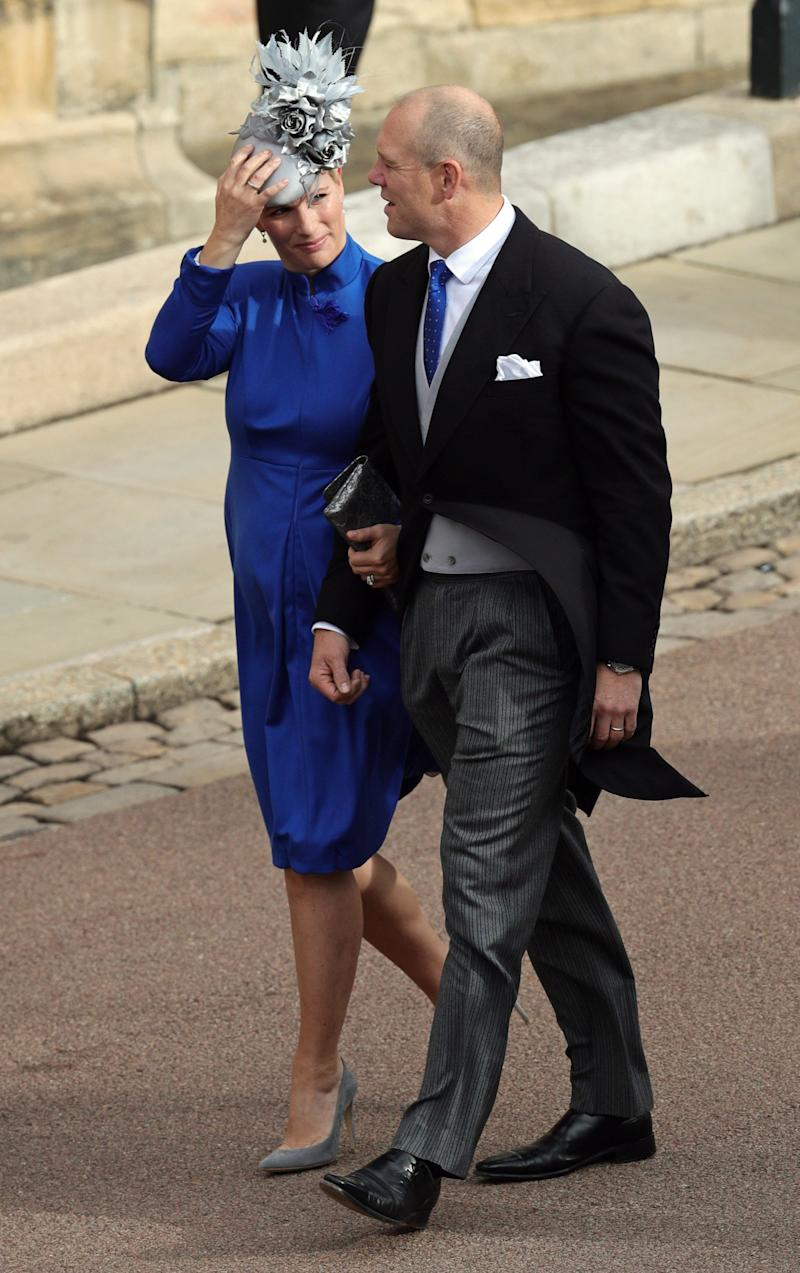Zara Tindall and Mike Tindall arrive ahead of the wedding of Princess Eugenie of York and Mr. Jack Brooksbank at St. George's Chapel on October 12, 2018, in Windsor, England.