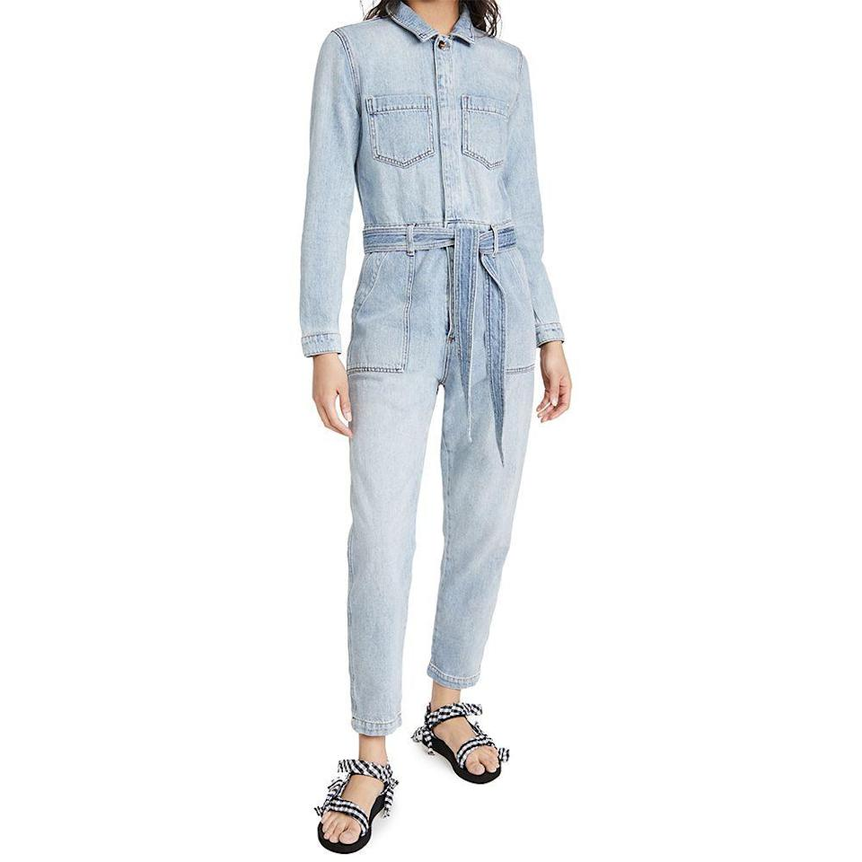 """<p><strong>Joe's Jeans </strong></p><p>shopbop.com</p><p><a href=""""https://go.redirectingat.com?id=74968X1596630&url=https%3A%2F%2Fwww.shopbop.com%2Falexa-jumpsuit-joes-jeans%2Fvp%2Fv%3D1%2F1502079707.htm&sref=https%3A%2F%2Fwww.cosmopolitan.com%2Fstyle-beauty%2Ffashion%2Fg36098924%2Fshopbop-spring-sale%2F"""" rel=""""nofollow noopener"""" target=""""_blank"""" data-ylk=""""slk:SHOP NOW"""" class=""""link rapid-noclick-resp"""">SHOP NOW</a></p><p><strong><del>$248</del> $211 (15% off)</strong> </p><p>To ease the transition of getting dressed again, look to denim jumpsuits. This one from Joe's Jeans has an unfussy silhouette that offers wear-anywhere versatility. </p>"""