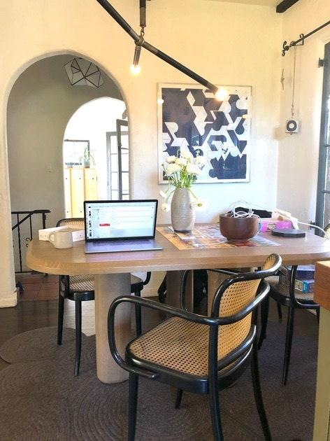 """<h1 class=""""title"""">Glenn Lawson, cofounder of Lawson-Fenning</h1> <div class=""""caption""""> Glenn Lawson's work station turns into a table for completing jigsaw puzzles during off-hours. </div>"""
