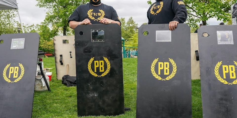 Proud Boys provide security at a 2nd Amendment rally on May 1, 2021 in Salem, Oregon. Proud Boys from throughout Oregon had previously been laying low following the Jan. 6 attack on the U.S. capitol.