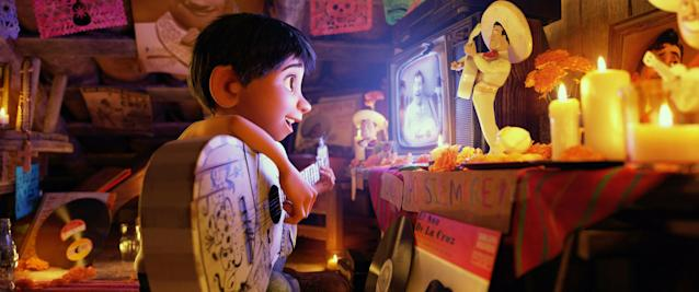 This simple scene of Miguel watching Ernesto de la Cruz perform is one of producer Darla Anderson's favorite moments in <i>Coco</i>. (Photo: Walt Disney Studios Motion Pictures/courtesy Everett Collection)