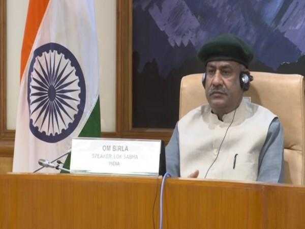 Lok Sabha Speaker Om Birla participating in the 206th Session of the Governing Council of the Inter-Parliamentary Union (IPU) on Sunday.