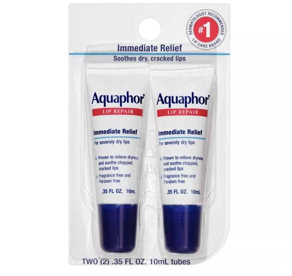 <p>The <span>Aquaphor Immediate Relief Lip Repair Balm</span> ($7) will soothe your severly chapped lips.</p>