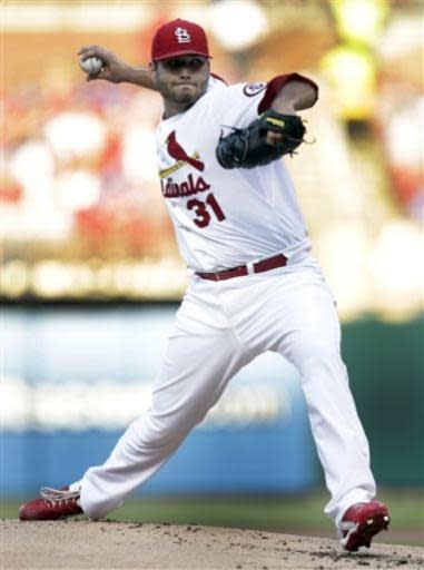 St. Louis Cardinals starting pitcher Lance Lynn (31) sets to pitch in the first inning of a baseball game against the Chicago Cubs, Thursday, June 20, 2013, in St. Louis. (AP Photo/Tom Gannam)