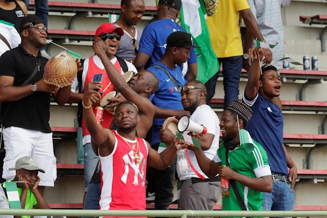 Soccer Football - International Friendly - Czech Republic vs Nigeria - Rudolf-Tonn-Stadion, Schwechat, Austria - June 6, 2018 Nigeria fans before the match REUTERS/Leonhard Foeger