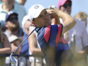 United States' Jordan Spieth plays his tee shot on the 3rd tee during the final round of the British Open Golf Championship at Royal St George's golf course Sandwich, England, Sunday, July 18, 2021. (AP Photo/Ian Walton)