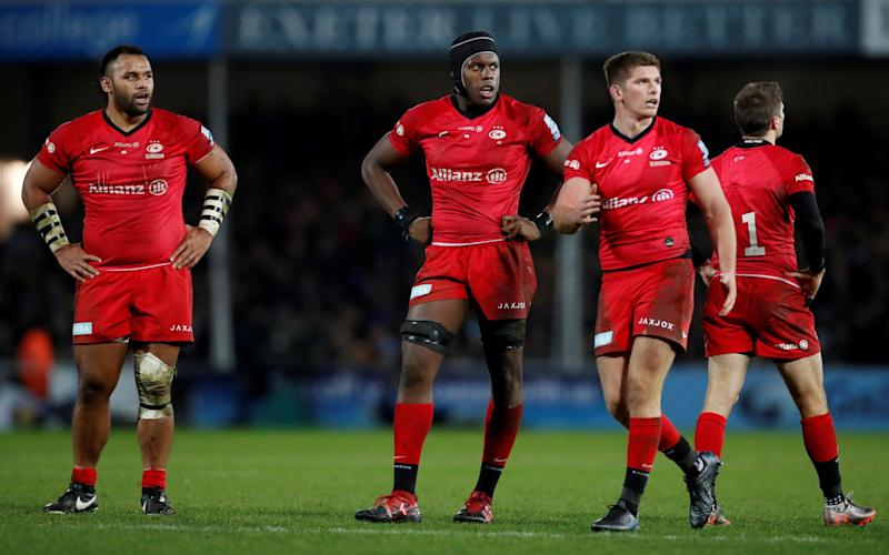 Saracens' Billy Vunipola, Maro Itoje and Owen Farrell look dejected - ACTION IMAGES