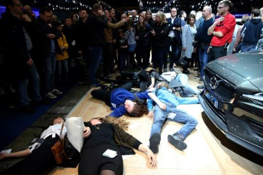 The protests staged a series of separate actions, including this 'die-in', at different stands of the motor show