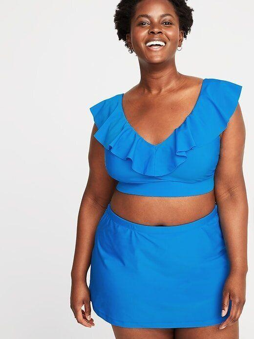 Old Navy Ruffled V-Neck Plus-Size Long-Line Swim Top and Skirt (Photo: Old Navy)