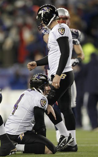Baltimore Ravens kicker Billy Cundiff (7) walks past ball holder Sam Koch (4) after missing a 32 yard field goal in the closing seconds of the AFC Championship NFL football game Sunday, Jan. 22, 2012, in Foxborough, Mass. The Patriots defeated the Ravens 23-20 to win the AFC Championship. (AP Photo/Winslow Townson)