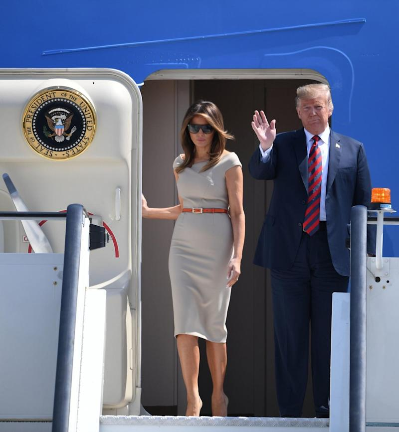 US President Trump and Melania Trump arrive on Air Force One at Stansted Airport (PA)