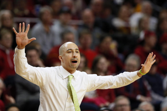 Texas head coach Shaka Smart reacts on the bench during the first half of an NCAA college basketball game against Iowa State, Saturday, Feb. 15, 2020, in Ames, Iowa. (AP Photo/Charlie Neibergall)