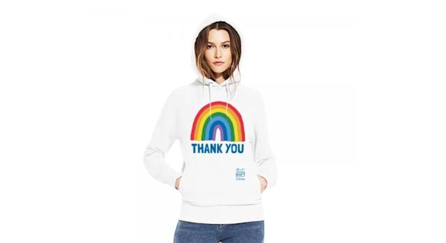 Rainbow Thank You NHS Unisex White Rainbow Pullover Hoodie