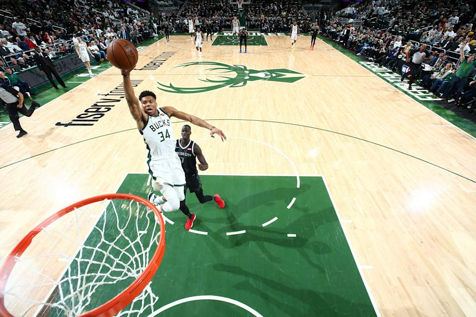 MILWAUKEE, WI - APRIL 14: Giannis Antetokounmpo #34 of the Milwaukee Bucks shoots the ball against the Detroit Pistons during Game One of Round One of the 2019 NBA Playoffs on April 14, 2019 at Fiserv Forum in Milwaukee, Wisconsin.  NOTE TO USER: User expressly acknowledges and agrees that, by downloading and or using this photograph, User is consenting to the terms and conditions of the Getty Images License Agreement. Mandatory Copyright Notice: Copyright 2019 NBAE  (Photo by Nathaniel S. Butler/NBAE via Getty Images)