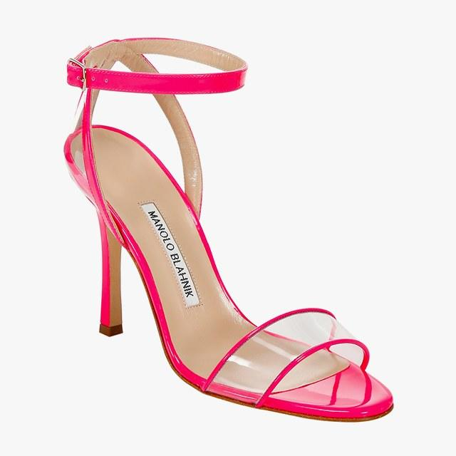 Manolo Blahnik leather and PVC heeled sandals, $795, saks.com