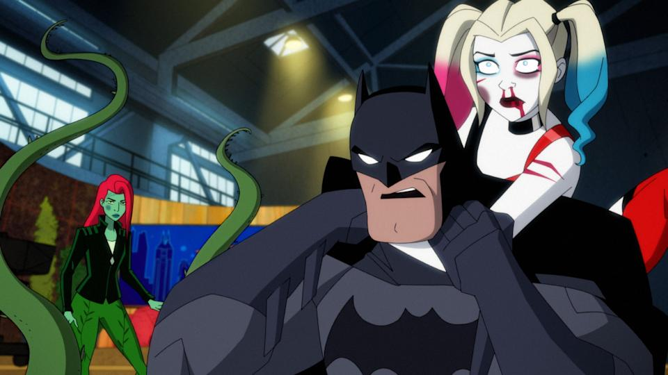 From left to right: Poison Ivy (Lake Bell), Batman (Diedrich Bader) and Harley Quinn (Kaley Cuoco) in the animated Harley Quinn series. (Photo: WarnerMedia/HBO Max)