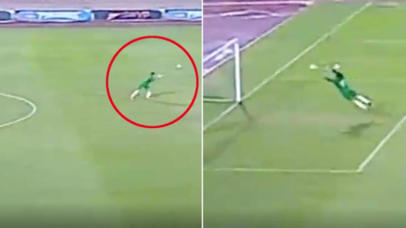 Mahmoud Gad's bizarre goalkeeping tactics have proven a hit on social media.