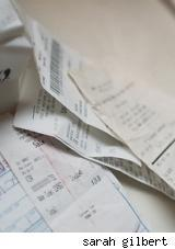 Crumpled receipts for Black Friday Return Policies