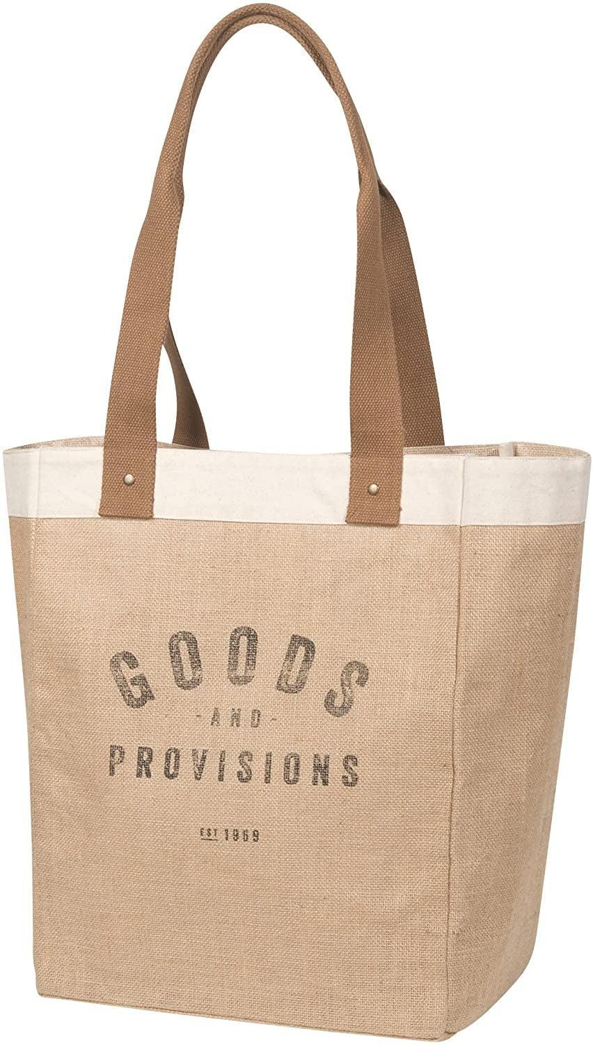 <p>This <span>Goods and Provisions Now Designs Burlap Market Tote</span> ($32) has enough room for groceries, books, a computer, and more.</p>