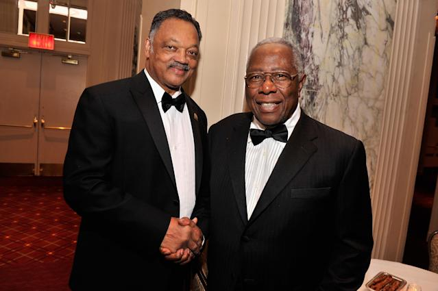 NEW YORK, NY - MARCH 04: Jesse Jackson and Baseball Hall of Famer Hank aaron attend the The Jackie Robinson Foundation Annual Awards' Dinner at the Waldorf Astoria Hotel on March 4, 2013 in New York City. (Photo by Stephen Lovekin/Getty Images for The Jackie Robinson Foundation)