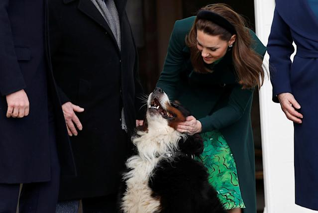 The Duchess of Cambridge gives the president's dog Brod a cuddle. (Press Association)