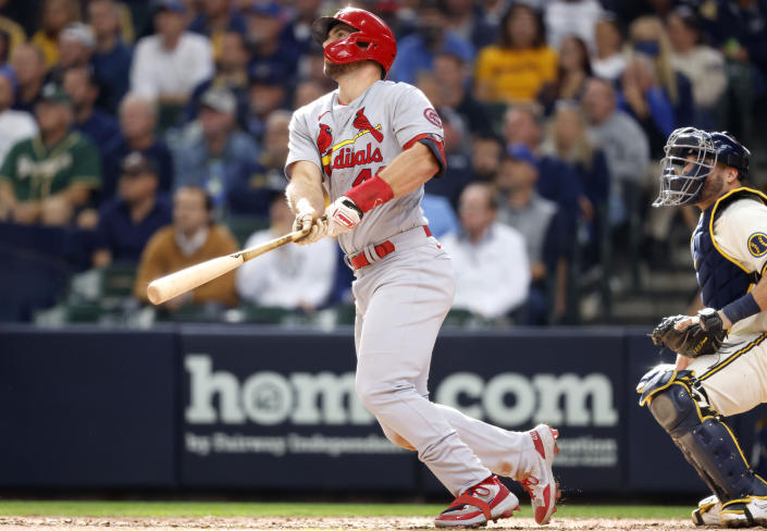 St. Louis Cardinals' Paul Goldschmidt watches his two-run home run during the seventh inning of a baseball game against the Milwaukee Brewers, Thursday, Sept. 23, 2021, in Milwaukee. (AP Photo/Jeffrey Phelps)