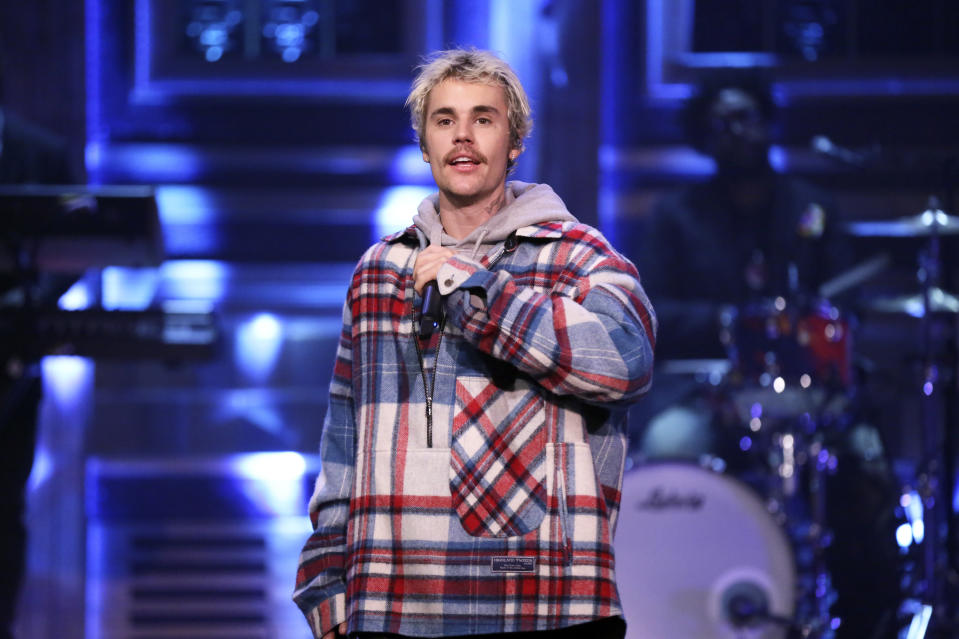 THE TONIGHT SHOW STARRING JIMMY FALLON -- Episode 1210 -- Pictured: Musical guest Justin Bieber featuring Quavo (not pictured) performs on February 14, 2020 -- (Photo by: Andrew Lipovsky/NBC/NBCU Photo Bank via Getty Images)