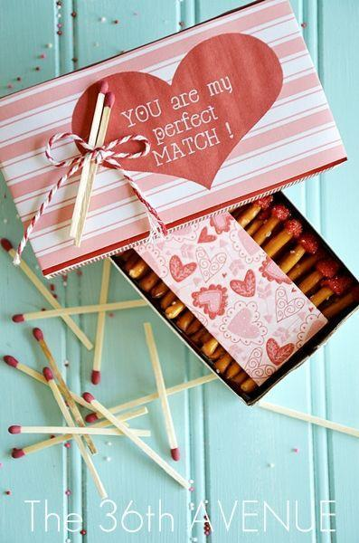 """<p>Spark a flame with these edible match sticks, made with pretzels and candy melts. </p><p><strong>Get the tutorial at <a href=""""http://www.the36thavenue.com/valentine-edible-matches/"""" rel=""""nofollow noopener"""" target=""""_blank"""" data-ylk=""""slk:The 36th Avenue"""" class=""""link rapid-noclick-resp"""">The 36th Avenue</a>. </strong></p>"""
