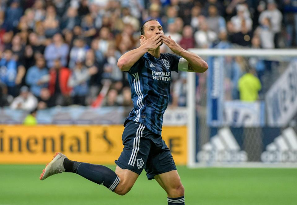 VANCOUVER, BC - APRIL 05: Zlatan Ibrahimovic (9) of the Los Angeles Galaxy celebrates his goal against the the Vancouver Whitecaps at BC Place on April 5, 2019 in Vancouver, Canada. (Photo by Christopher Morris - Corbis/Getty Images)