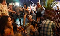 <p>Terrified music fans run for cover as the active gunman situation unfolds on the Las Vegas strip. </p>