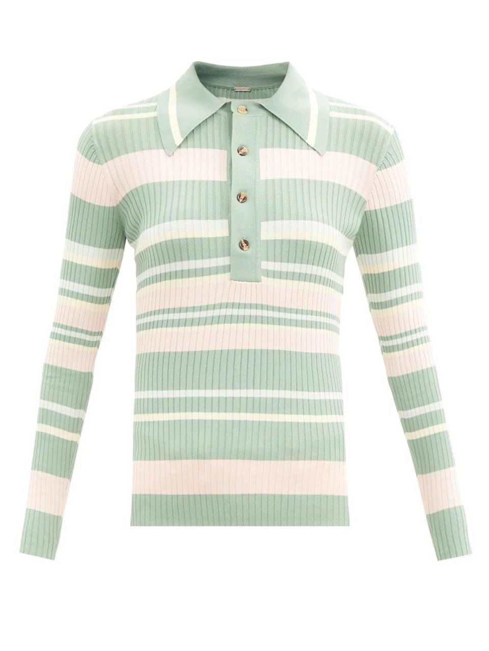 """<br><br><strong>Dodo Bar Or</strong> Penny Striped Rib-Knitted Polo Sweater, $, available at <a href=""""https://www.matchesfashion.com/products/Dodo-Bar-Or-Penny-striped-rib-knitted-polo-sweater-1382543"""" rel=""""nofollow noopener"""" target=""""_blank"""" data-ylk=""""slk:Matches Fashion"""" class=""""link rapid-noclick-resp"""">Matches Fashion</a>"""