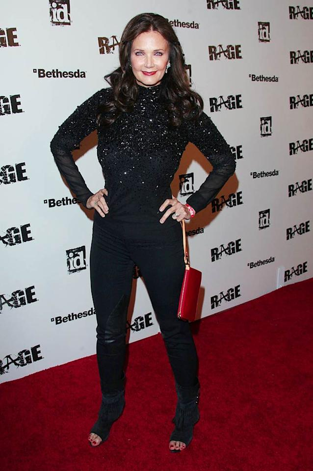 And last, but certainly not least ... the first/best/only Wonder Woman, Lynda Carter, who -- at 60 -- put women half her age to shame in a bedazzled top, black pants, and tasseled booties at LA's Rage launch party. Diana Prince would be so proud!    Check out last week's gallery here!    Follow 2 Hot 2 Handle creator, Matt Whitfield, on Twitter!  Jen Lowery/Splash News - September 30, 2011