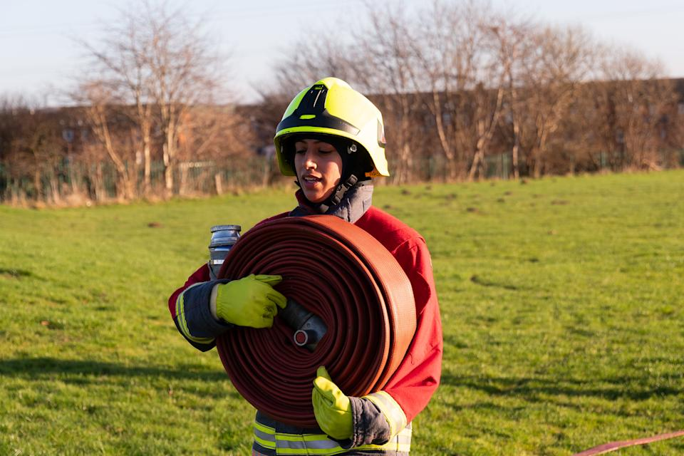 Uroosa Arshid became the UK's first operational hijab-wearing firefighter. (Nottinghamshire Fire and Rescue Service)