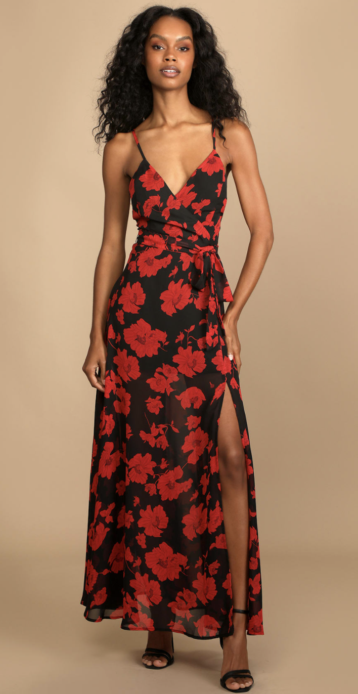 model wearing red and black floral spaghetti strap maxi dress