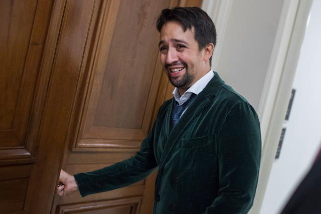 "Lin-Manuel Miranda, creator of the musical ""Hamilton,"" makes his way to a meeting of the House Appropriations Subcommittee on Interior, Environment and Related Agencies in the Rayburn Office Building during a round of meetings to urge federal funding for the arts and humanities on Sept. 13, 2017."