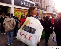 Shoppers at the January sales
