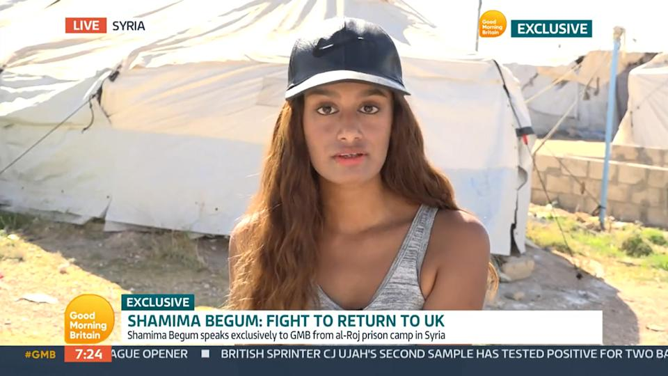 Shamima Begum told Good Morning Britain she doesn't want the British public to see her as a threat. (ITV)
