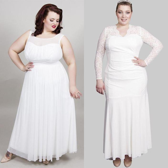 "<p>Plus size retailer <a href=""https://www.scarlettandjo.com/collections/plus-size-bridal-dresses"" rel=""nofollow noopener"" target=""_blank"" data-ylk=""slk:Scarlett & Jo"" class=""link rapid-noclick-resp"">Scarlett & Jo</a> has an affordable collection of maxi dresses to suit all tastes - from more casual wrap-around styles to full-length lace sleeve gowns. There's also a great range of <a href=""https://www.scarlettandjo.com/collections/wedding/products/wrap-top-frill-front-bridal-maxi-dress?variant=19892086276"" rel=""nofollow noopener"" target=""_blank"" data-ylk=""slk:bridesmaid dresses"" class=""link rapid-noclick-resp"">bridesmaid dresses</a> starting at just £60.</p><p><a class=""link rapid-noclick-resp"" href=""https://go.redirectingat.com?id=127X1599956&url=https%3A%2F%2Fwww.scarlettandjo.com%2Fcollections%2Fplus-size-bridal-dresses%2Fproducts%2Fsweetheart-front-bridal-maxi-dress%3Fvariant%3D17312939204&sref=http%3A%2F%2Fwww.cosmopolitan.com%2Fuk%2Ffashion%2Fstyle%2Fg4924%2Fhigh-street-brands-that-sell-wedding-dresses%2F"" rel=""nofollow noopener"" target=""_blank"" data-ylk=""slk:BUY NOW"">BUY NOW</a> Sweetheart front maxi dress (L), £120<br><br><a class=""link rapid-noclick-resp"" href=""https://go.redirectingat.com?id=127X1599956&url=https%3A%2F%2Fwww.scarlettandjo.com%2Fproducts%2Fscalloped-lace-neck-and-train-bridal-dress%3Fvariant%3D17311510532&sref=http%3A%2F%2Fwww.cosmopolitan.com%2Fuk%2Ffashion%2Fstyle%2Fg4924%2Fhigh-street-brands-that-sell-wedding-dresses%2F"" rel=""nofollow noopener"" target=""_blank"" data-ylk=""slk:BUY NOW"">BUY NOW</a> Scalloped lace neck and train dress (R), £150</p>"