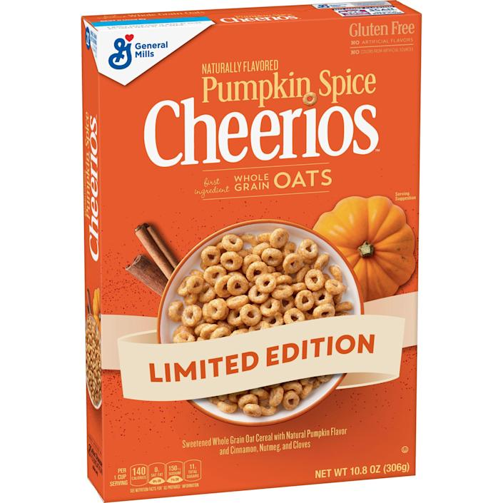 """<p><strong>Cheerios</strong></p><p>walmart.com</p><p><strong>$9.70</strong></p><p><a href=""""https://go.redirectingat.com?id=74968X1596630&url=https%3A%2F%2Fwww.walmart.com%2Fip%2F429323977%3Fselected%3Dtrue&sref=https%3A%2F%2Fwww.delish.com%2Ffood-news%2Fg22727687%2Ffall-foods-drinks-flavors%2F"""" rel=""""nofollow noopener"""" target=""""_blank"""" data-ylk=""""slk:Shop Now"""" class=""""link rapid-noclick-resp"""">Shop Now</a></p><p>They're baaaaaccckk. Yes, this fall breakfast staple will also be returning this year. </p>"""