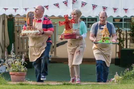 Luis Troyano in the 2014 Bake Off final alongside Richard Burr and Nanacy Birtwhistle. (BBC/Love Productions)