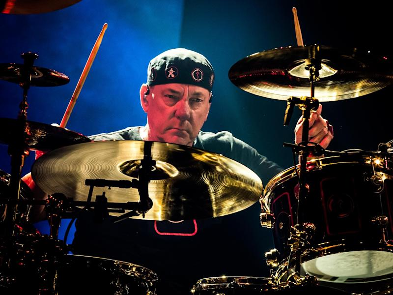 Neil Peart performing with Rush in 2015: Rex
