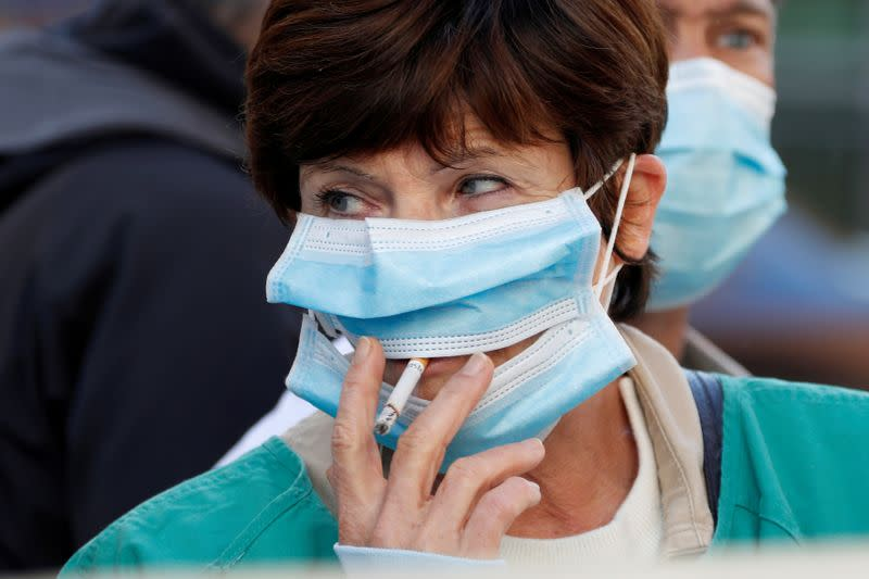 FILE PHOTO: Health workers demonstrate in Nice
