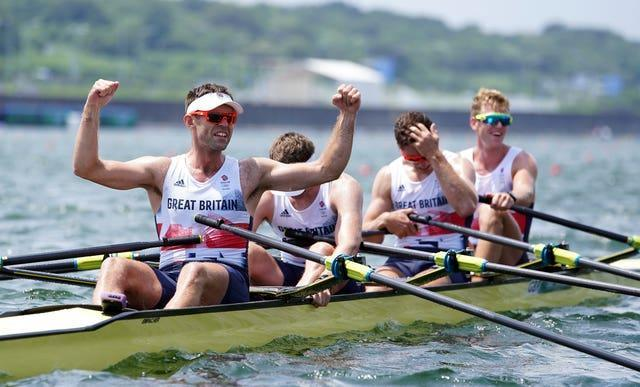 Harry Leask, Angus Groom, Tom Barras and Jack Beaumont celebrate their silver medal
