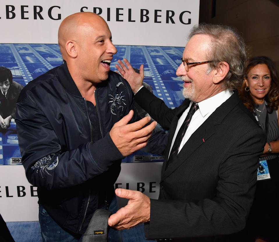 """HOLLYWOOD, CA - SEPTEMBER 26: Vin Diesel (L) and Steven Spielberg at HBO's """"Spielberg"""" Premiere at Paramount Studios on September 26, 2017 in Hollywood, California.  (Photo by Jeff Kravitz/FilmMagic for HBO)"""