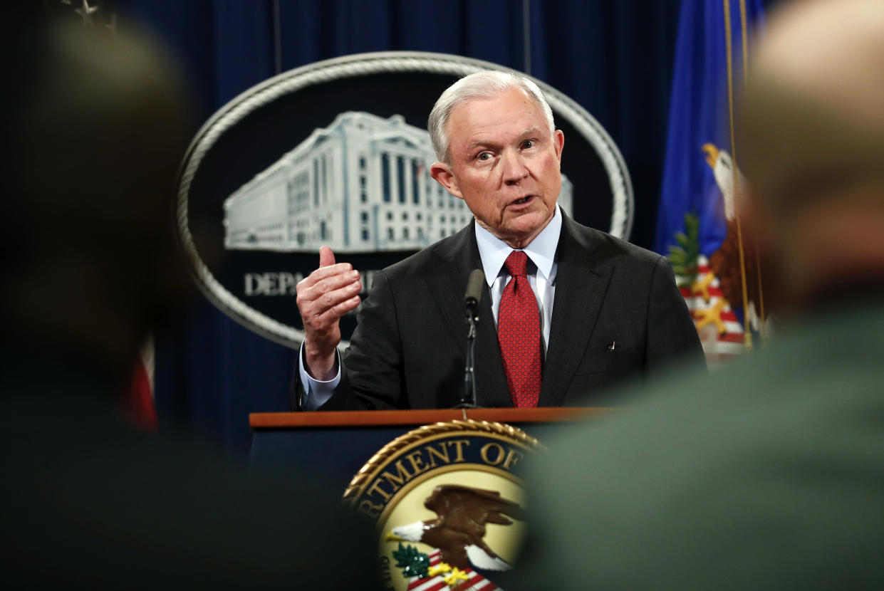 Attorney General Jeff Sessions speaks during a news conference at the Justice Department in Washington, D.C., on Dec. 15, 2017, about efforts to reduce violent crime. (Photo: Carolyn Kaster/AP)