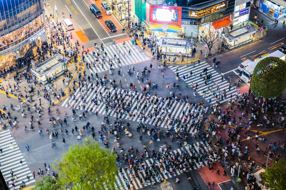 Elevated view of famous Shibuya pedestrian crossing, Tokyo, Japan