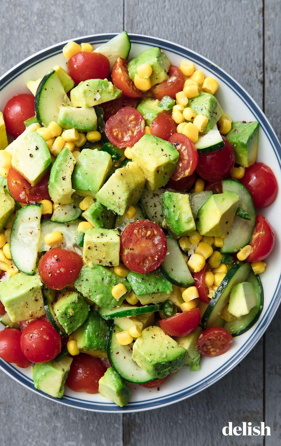 "<p>This dish tastes like summer in a bowl.</p><p>Get the recipe from <a href=""https://www.delish.com/cooking/recipe-ideas/a19872947/avocado-tomato-salad-recipe/"" rel=""nofollow noopener"" target=""_blank"" data-ylk=""slk:Delish"" class=""link rapid-noclick-resp"">Delish</a>. </p>"