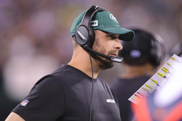 New York Jets head coach Adam Gase watches his team play during the first half of an NFL football game against the Cleveland Browns, Monday, Sept. 16, 2019, in East Rutherford, N.J. (AP Photo/Bill Kostroun)